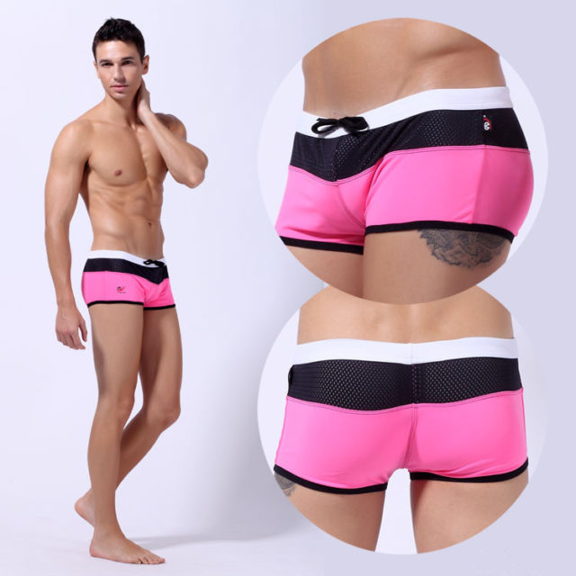 Men Swimwear Men's Swimsuits Mixed Color Striped Briefs Surf Board Beach Wear Man Swimming Trunks Boxer Shorts Swim Suits