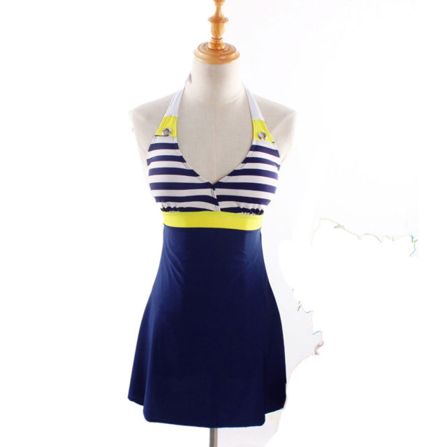 One Piece Stripe Plus Size Padded Navy Blue Halter Skirt Swimsuit